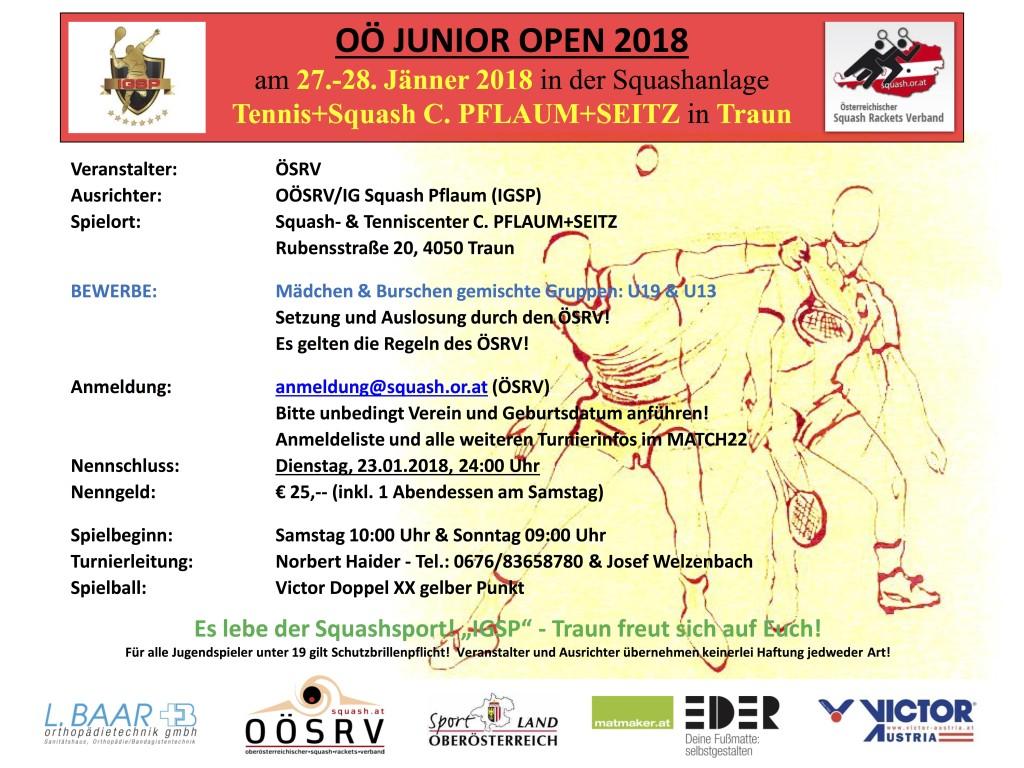 Plakat OÖ Junior Open 2018
